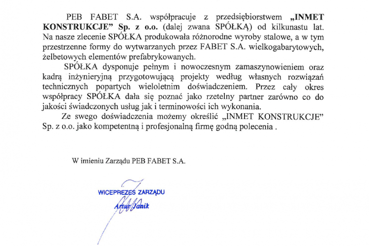 Referencje FABET 04.2019